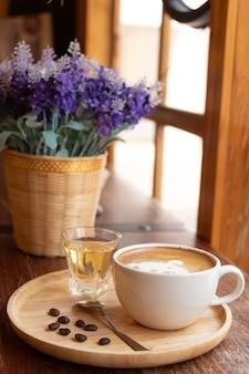 Latte art in a white glass