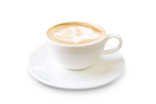Latte coffee or cappuccino coffee in white cup with beautiful latte art isolated on white