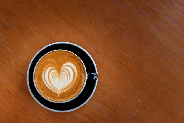 Latte coffee hot in coffee shop