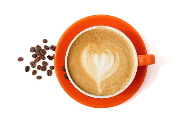 Latte coffee in orange coffee cup isolated on  white background. clipping path included