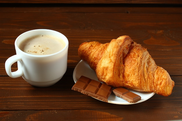 Latte, croissant and chocolate