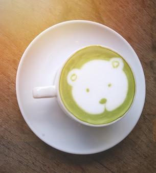 Latte hot green tea
