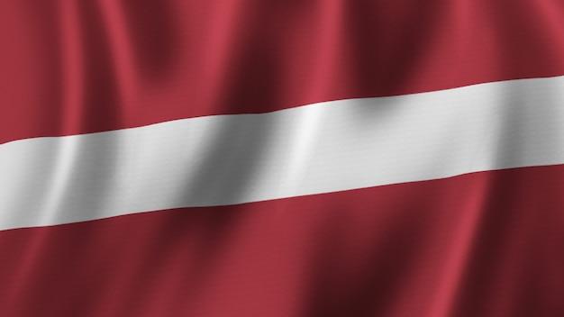 패브릭 질감으로 고품질 이미지로 근접 촬영 3d 렌더링을 흔들며 라트비아 국기