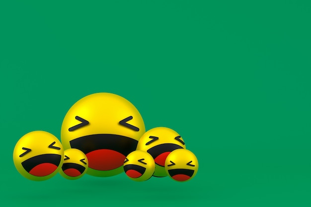 Смех значок facebook реакции смайликов 3d визуализации, символ шара в социальных сетях на зеленом