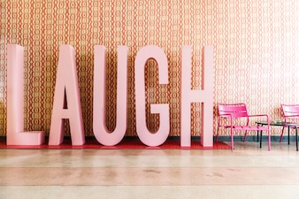 Laugh word inside a room