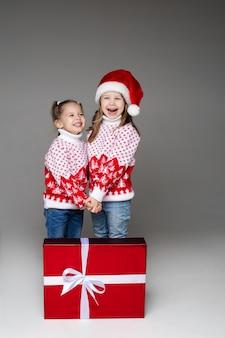 크리스마스 선물과 함께 손을 잡고 비슷한 겨울 스웨터를 입은 자매들을 바닥에 그들 앞에서 흰 나비로 웃고 있습니다.