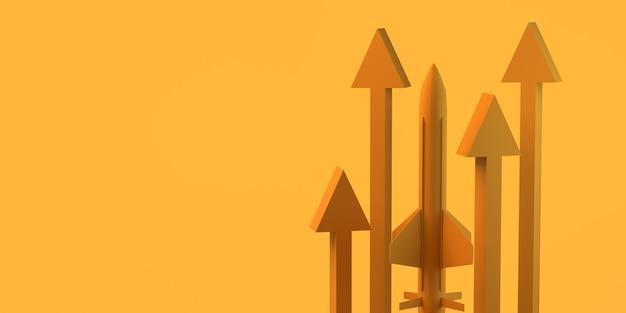 Запуск нового продукта или услуги со стрелками. скопируйте пространство. 3d иллюстрации.