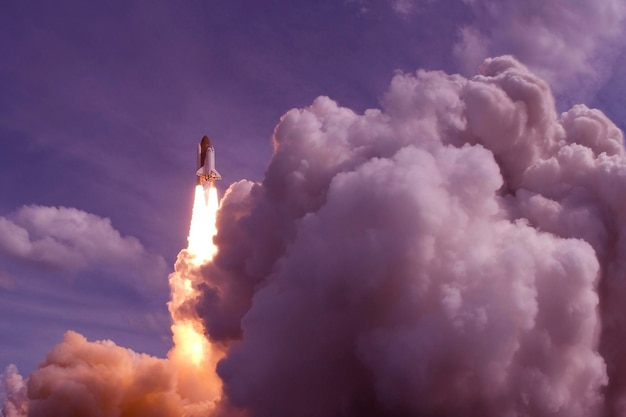 The launch of the space shuttle against the sky  elements of this image were furnished by nasa