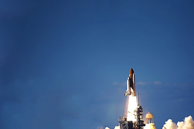 Launch of the space shuttle into space. elements of this image were furnished by nasa. high quality photo