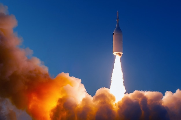 The launch of the space shuttle. with fire and smoke. elements of this image were furnished by nasa . high quality photo