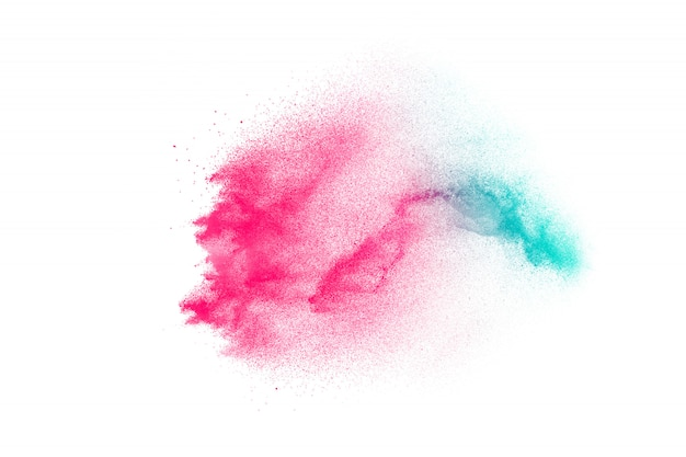Launched color powder explosion on background.