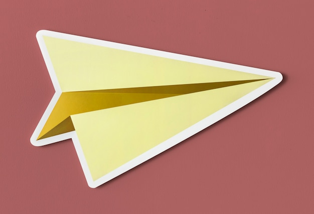 Launching paper plane cut out icon
