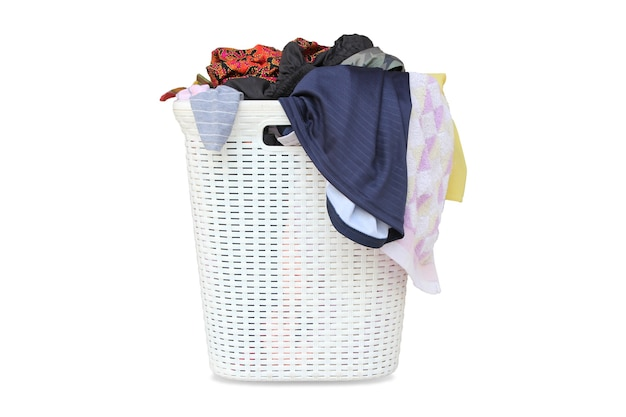 Laundry basket with dirty clothes isolated on white background