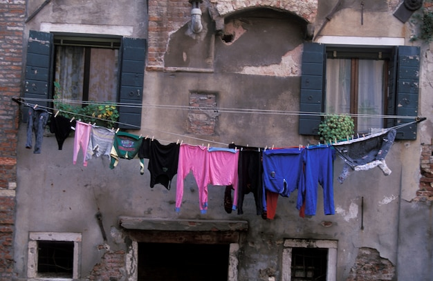 Laundry hanging on clothesline, rome, italy,