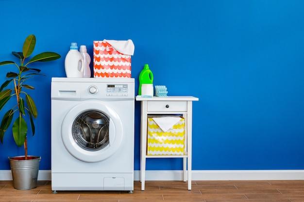세탁실. 세탁기의 클로즈업