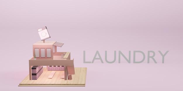 Laundry shop model washing machine coin laundry service cartoon 3d illustration