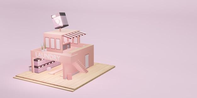 Прачечная, модель магазина, стиральная машина, прачечная, монета, мультфильм, 3d иллюстрация