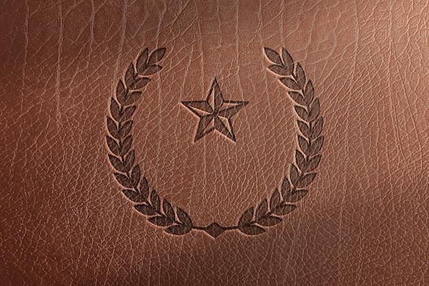 革のテクスチャ背景に月桂樹のロゴ