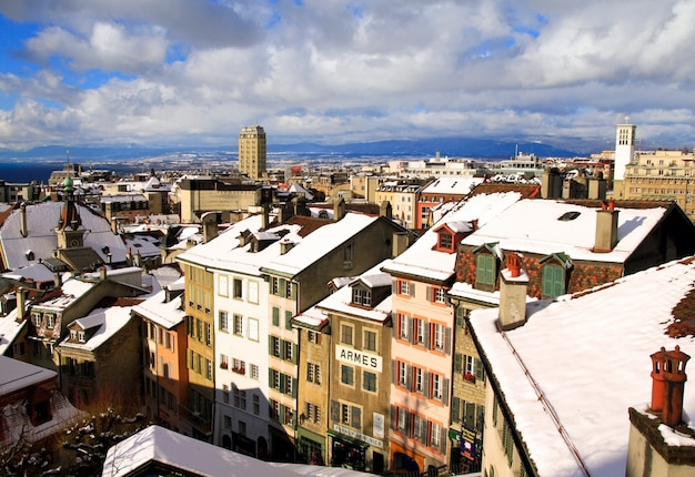 Lausanne roof after snow