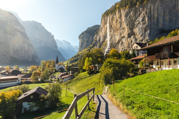 Lauterbrunned is the small village in valley with beautiful waterfall from the mountain