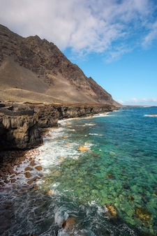 Lava coast in canary islands, spain.  biosphere reserve.