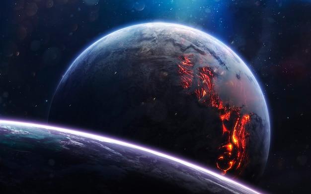 Лавовая планета. изображение глубокого космоса, фантастическая фантастика в высоком разрешении идеально подходит для обоев и печати. элементы этого изображения, предоставленные наса