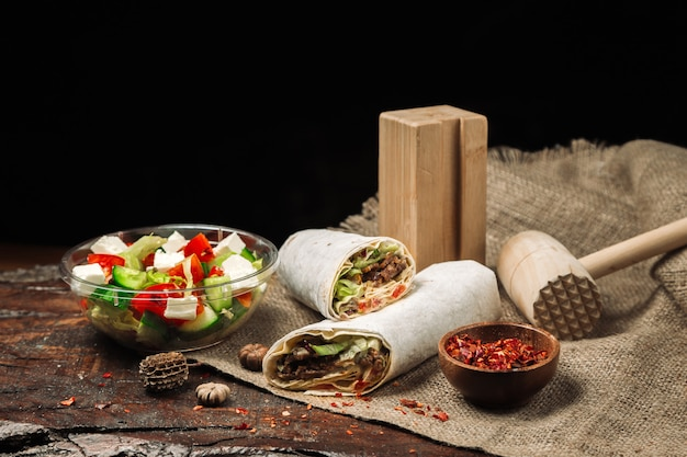 Lavash meat roll and greek salad