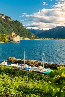 스위스 제네바 호수의 lavaux vineyard terraces와 chillon 성