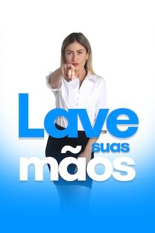 コロナウイルスに対するlavesuas maos(ポルトガル語で手を洗う)メッセージ、covid-19、2019-ncov、sars-cov-2。パンデミックウイルスの脅威。