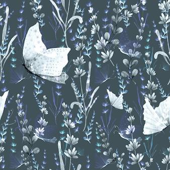 ラベンダーと蝶の手描きの水彩画のシームレスなパターン。