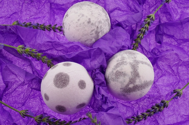 Lavender bath bomb. cosmetics for a bath with an extract of a lavender.