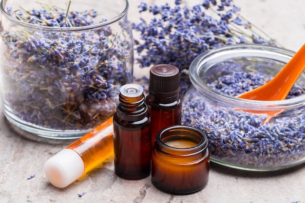 Lavender body care products. aromatherapy, spa and natural healthcare concept