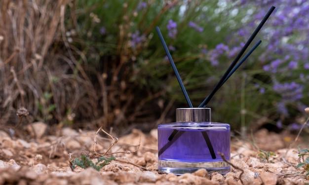 Lavender bottle flower perfume in the field