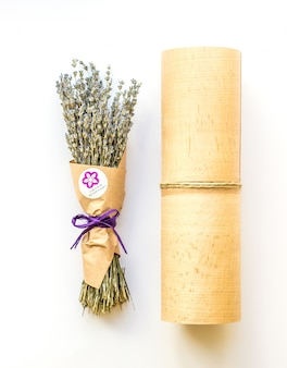 Lavender bouquet on white background in amazing packaging