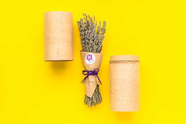 Lavender bouquet on a yellow background