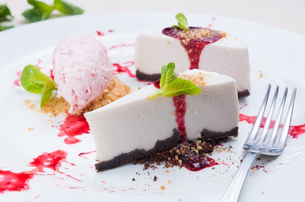 Lavender cheesecake with strawberry and hibiscus ice cream