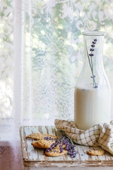 Lavender cookies with milk