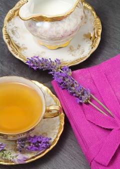 Lavender flavored tea  with  milk jug