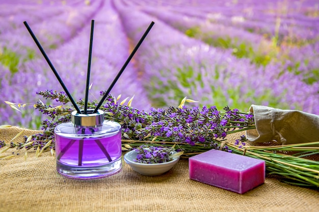 Lavender flower soap and perfume in the field