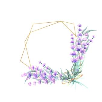 다각형 골드 프레임에 라벤더 꽃