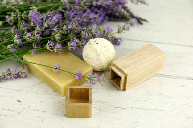 Lavender flowers on shaby white wooden background