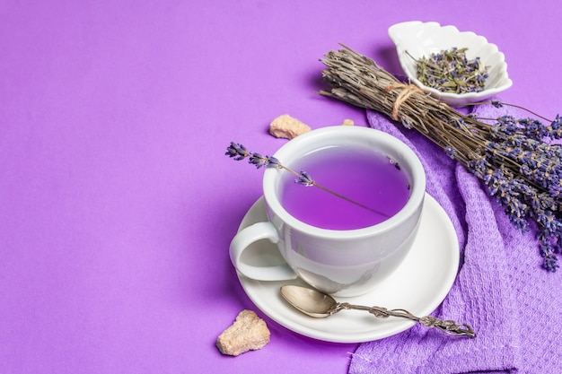 Lavender hot tea flower drink in ceramic cup