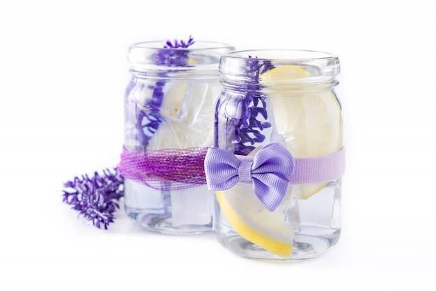 Lavender lemonade isolated on white background