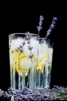 Lavender lemonade with lemon and ice