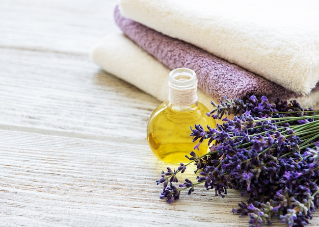 Lavender oil and lavender flowers