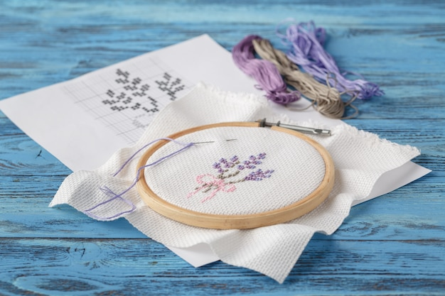 Lavender provence embroidery on blue table
