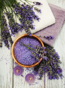 Lavender, sea salt and candle