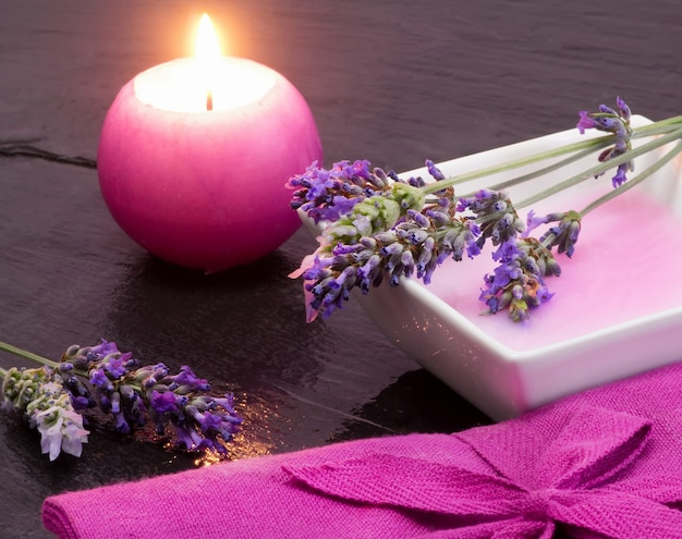 Lavender shampoo with scented candle