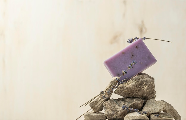 Lavender and soap assortment with copy space