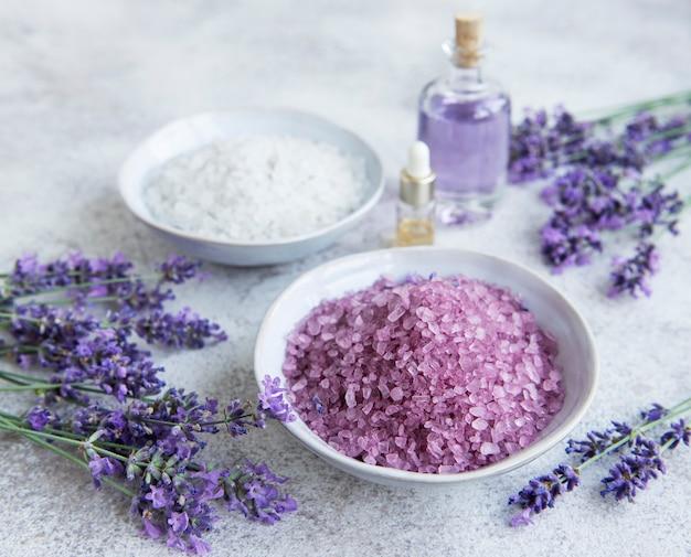 Lavender spa essential oils sea salt  and fresh lavender